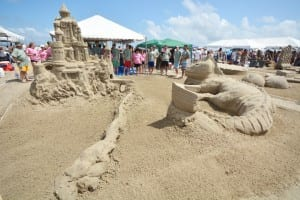 60 Teams competing in the Annual Sandcastle Competition on East Beach.