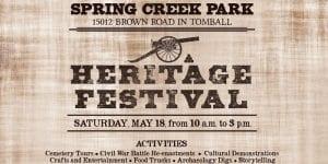 Harris County Precinct 4's Spring Creek Park Heritage Festival @ Burroughs Park